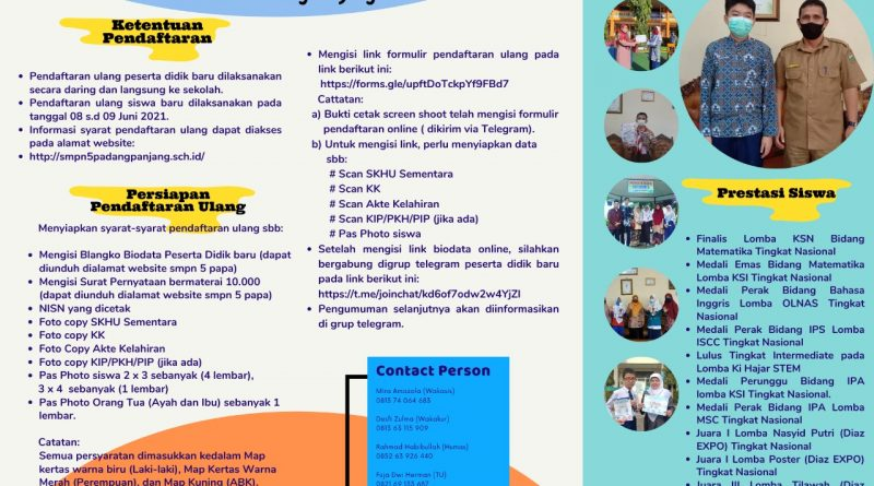 Panduan Umum Pendaftaran Ulang Peserta Didik Baru SMPN 5 Padang Panjang